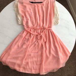 Gorgeous Coral Pink Dress with Sash!